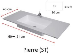 Vanity top washbasin with integrated 100 x 46 cm, resin, without front, white PIERRE