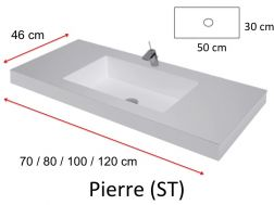 Vanity top washbasin with integrated 100 x 46 cm, resin, with front, white P