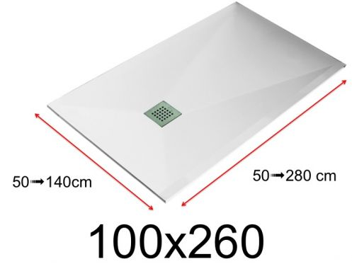 Shower tray - 100x260 cm - 1000x2600 mm - in mineral resin, extra flat - White LISSO