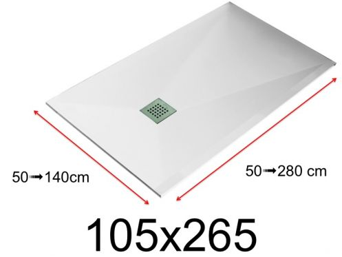 Shower tray - 105x265 cm - 1050x2650 mm - in mineral resin, extra flat - White LISSO