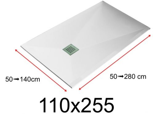 Shower tray - 110x255 cm - 1100x2550 mm - in mineral resin, extra flat - White LISSO