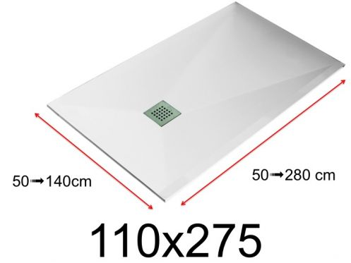 Shower tray - 110x275 cm - 1100x2750 mm - in mineral resin, extra flat - White LISSO
