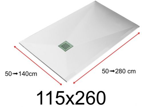 Shower tray - 115x260 cm - 1150x2600 mm - in mineral resin, extra flat - White LISSO