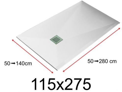 Shower tray - 115x275 cm - 1150x2750 mm - in mineral resin, extra flat - White LISSO