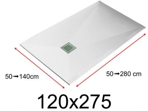 Shower tray - 120x275 cm - 1200x2750 mm - in mineral resin, extra flat - White LISSO