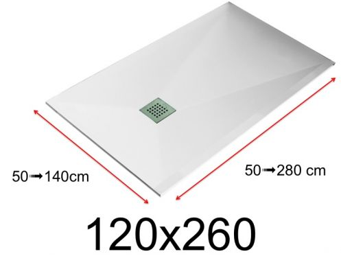 Shower tray - 120x260 cm - 1200x2600 mm - in mineral resin, extra flat - White LISSO