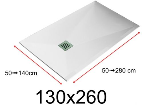 Shower tray - 130x260 cm - 1300x2600 mm - in mineral resin, extra flat - White LISSO