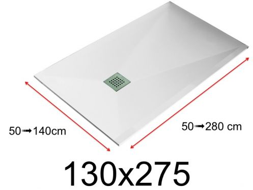 Shower tray - 130x275 cm - 1300x2750 mm - in mineral resin, extra flat - White LISSO