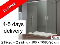 Sliding shower door with fixed access angle, 100 x 70, 100 x 80, 100 x 90, height 195 cm - Basic Angle