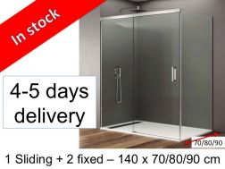 Sliding shower door with fixed side, 140 x 70, 140 x 80, 140 x 90, height 195 cm - Basic latéral
