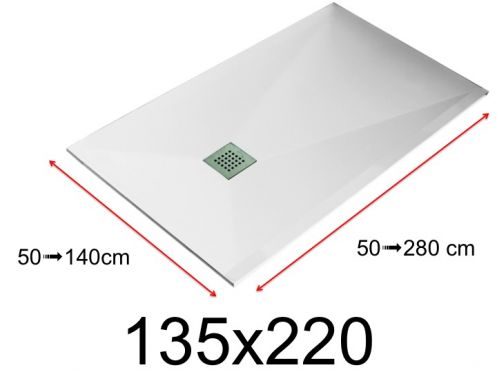 Shower tray - 135x220 cm - 1350x2200 mm - in mineral resin, extra flat - White LISSO
