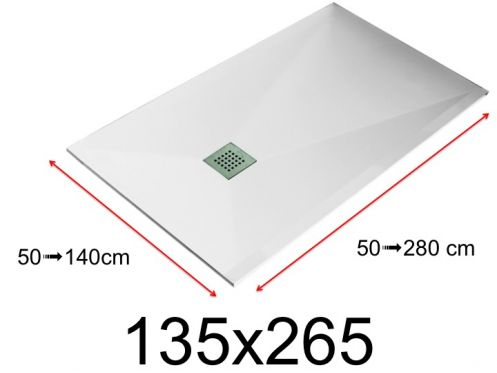 Shower tray - 135x265 cm - 1350x2650 mm - in mineral resin, extra flat - White LISSO