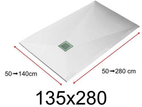 Shower tray - 135x280 cm - 1350x2800 mm - in mineral resin, extra flat - White LISSO