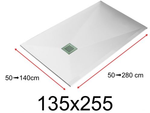 Shower tray - 140x255 cm - 1350x2550 mm - in mineral resin, extra flat - White LISSO