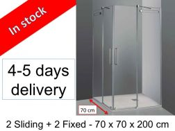 Shower cabin, 70 x 70 x 200 cm, 2 sliding panels in corner access with 2 fixed - Vetrum.