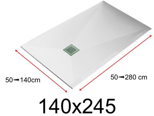 Shower tray - 140x245 cm - 1400x2450 mm - in mineral resin, extra flat - White LISSO