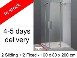 Shower cabin, 100 x 80 x 200 cm, 2 sliding panels in corner access with 2 fixed - Vetrum.