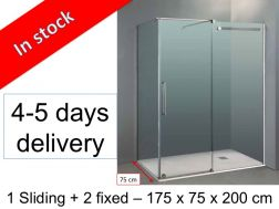Shower cabin, 175 x 75 x 200 cm, 1 sliding front panel with a lateral fixed - Vetrum.