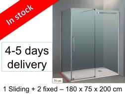 Shower cabin, 180 x 75 x 200 cm, 1 sliding front panel with a lateral fixed - Vetrum.