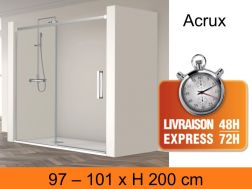 Sliding shower door with two panels, 100 x 200 cm - Acrux