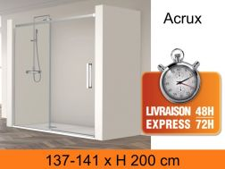 Sliding shower door with two panels, 140 x 200 cm - Acrux