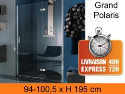 Shower screen with one swivel panel, 100 x 200 cm - Large Polaris