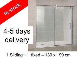 Sliding shower screen __plus__ fixed, 130 x 199 - Moving frontal