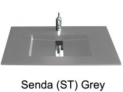 Custom-made washbasin, 200  x 46, central channel - Senda smooth ST grey