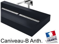 Wash basin suspended or to be installed, width 50 x 140 cm, resin, Channel anthracite