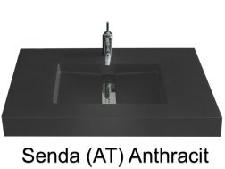 Custom-made washbasin, 200 x 46, central channel - Senda smooth AT Anthracite