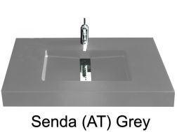 Custom-made washbasin, 200 x 46, central channel - Senda smooth AT grey
