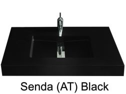 Custom-made washbasin, 200 x 46, central channel - Senda smooth AT black