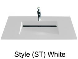 Washbowl gutter washbasin suspended or built-in, 46 x 140 - Style ST white