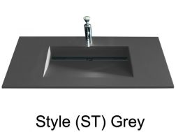 Washbowl gutter washbasin suspended or built-in, 46 x 140 - Style ST gray