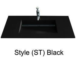 Washbowl gutter washbasin suspended or built-in, 46 x 140 - Style ST black
