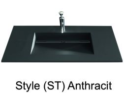 Washbowl gutter washbasin suspended or built-in, 46 x 170 - Style ST anthracit