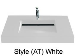 Washbowl gutter washbasin suspended or built-in, 46 x 140 - Style AT white