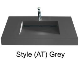 Washbowl gutter washbasin suspended or built-in, 46 x 140 - Style AT grey