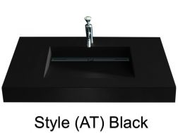 Washbowl gutter washbasin suspended or built-in, 46 x 140 - Style AT black