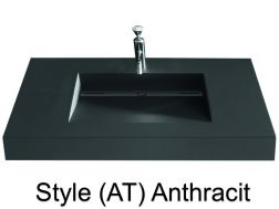 Washbowl gutter washbasin suspended or built-in, 46 x 190 - Style AT anthracit