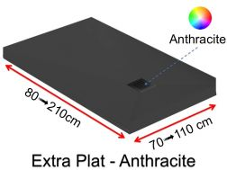 Extra flat shower tray 70_80_ 90_100 x 190 cm, EXTRA PLAT anthracite