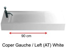 Washbasin with drain, 50 x 160 - Coper Labo AT white