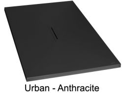 Shower tray with linear central drain, 70_80_ 90_100 x 140 cm - URBAN anthracite
