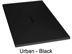 Shower tray with linear central drain, 70_80_ 90_100 x 140 cm - URBAN black