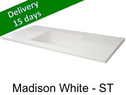 Washbasin top with integrated washbasin, width 50 x 140 cm - Madison white st