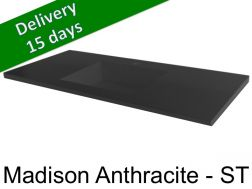 Washbasin top with integrated washbasin, width 50 x 160 cm - Madison Anthracite st