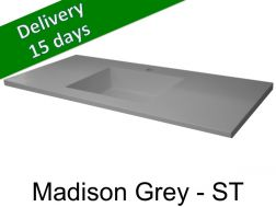 Washbasin top with integrated washbasin, width 50 x 160 cm - Madison grey st
