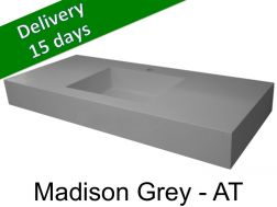 Washbasin top with integrated washbasin, width 50 x 160 cm - Madison grey AT