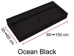Custom-made natural stone washbasin, 45 x 70, with contemporary design - Ocean black