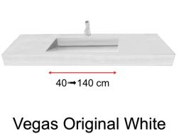 Custom Natural Stone Gutter Sink, 45 x 90 - Vegas Original white